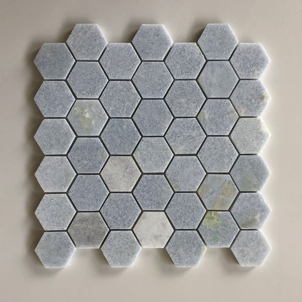 "Blue Celeste Hexagon 2"" Polished Mosaic"