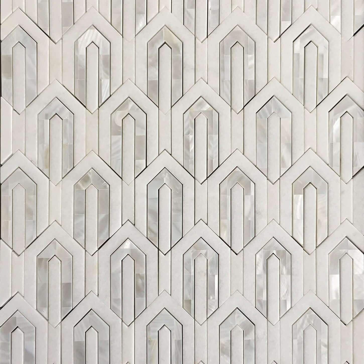 Arrow White Thassos and Mother of Pearl Waterjet Mosaic