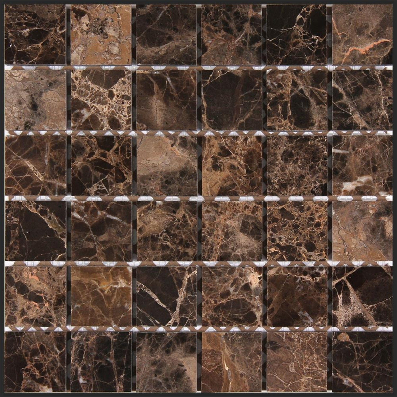 Dark Emperador 2x2 Square Polished Marble Mosaic