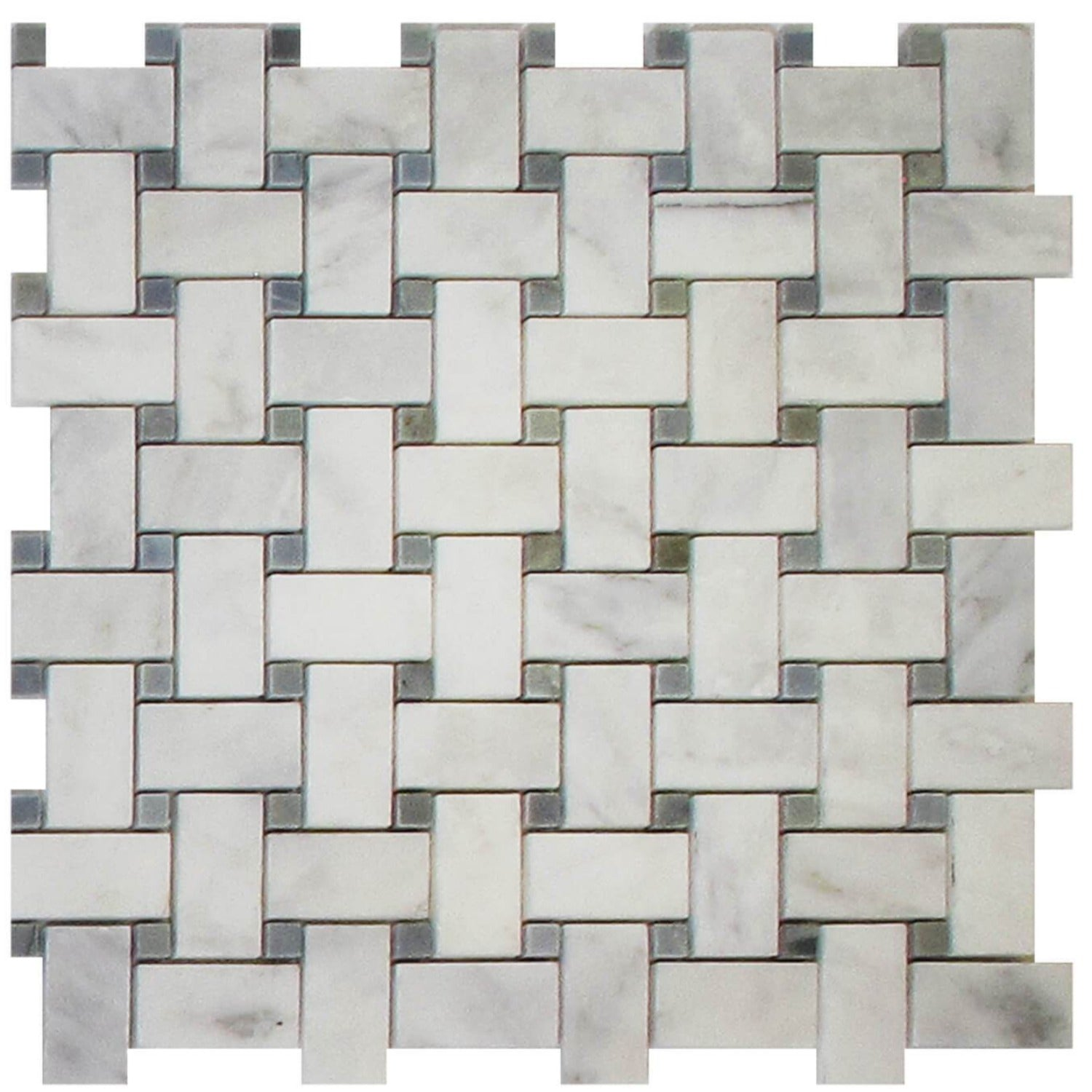 Arabescato Basketweave With Blue Dot Polished Tile