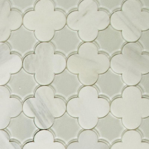 Flower Waterjet Mosaic Arabescato and Frosted Glass