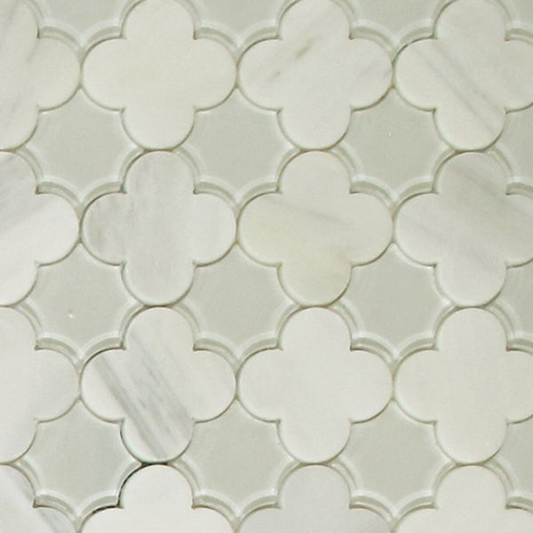 Arabescato Flowers  With Clear Glass Tile Mosaic