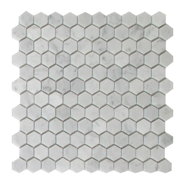 Bianco Carrara 1 Inch Marble Honey Comb Mosaic Tile