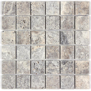 Silver Travertine Tumbled 2x2 Mosaic Tile