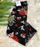 regular size high waist capris butterfly in red pattern