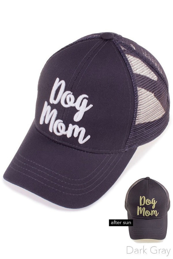 cc dog mom design ponytail polyester and cotton hat