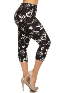 simple comfortable high waist floral print leggings for women