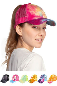 cc trendy tie dye design ponytail polyester and cotton hat