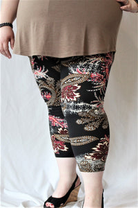 elastic capri leggings with paisley pattern for women outerwear yogawear