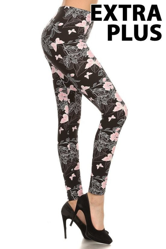 mid curvy soft leggings with pink butterfly design for everyday wear