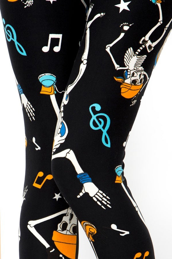mid curvy soft leggings for everyday wear with dancing skeleton design