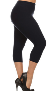high waist comfortable capris leggings with solid color for plus size curvy women