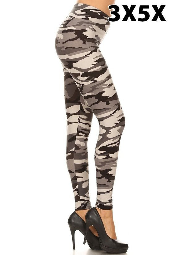 extra curvy soft leggings with camo grey design for everyday wear yoga wear and casual