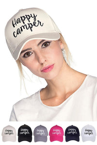 cc happy camper embroidery design cotton hat