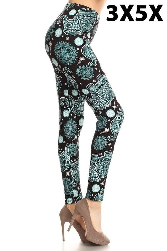 extra curvy size soft high waisted leggings with elephant in teal pattern for everyday wear