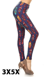 extra curvy size soft high waist leggings with feather pattern for everyday wear