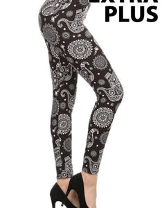 mid curvy size soft leggings with elephant design for everyday wear