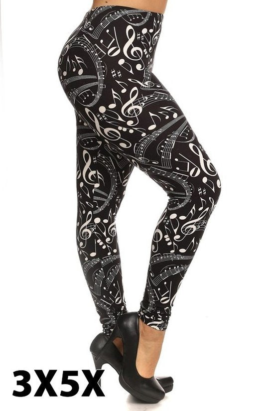 extra curvy soft leggings with music note pattern for plus size curvy women high waist