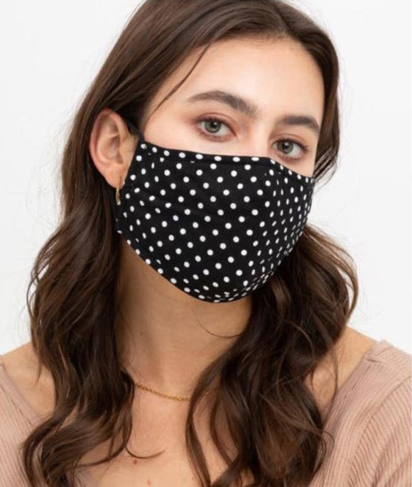 cotton masks with polka dot pattern printed designs with 3 layers