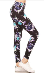 WIDE YOGA BAND FLORAL IN PURPLE