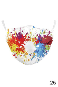 paint splatter design cotton mask