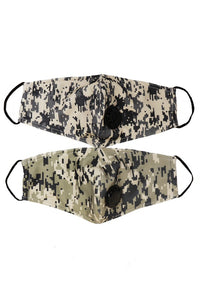 gray camo cotton mask with valve washable boutique cute cool stylish and safe with pockets for filter