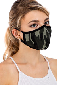 green camo cool and trendy cotton mask for outdoor mask boutique casual and cute stylish