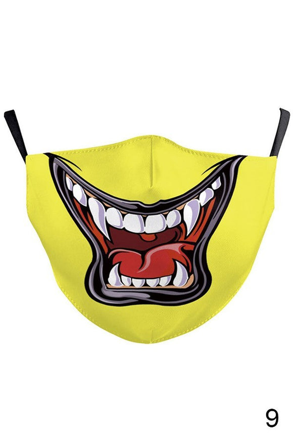 boutique funny scare me teeth design cotton mask washable with pocket for filter