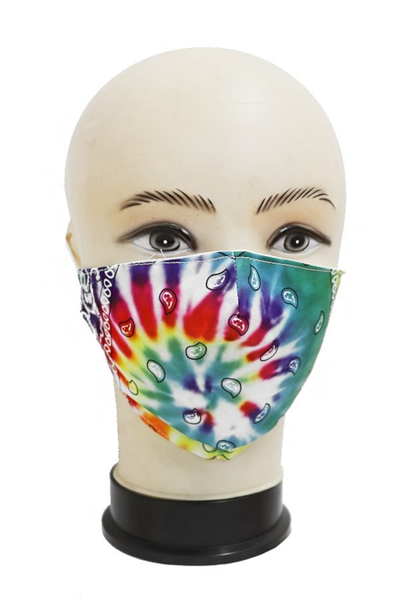 paisley tiedye print design trendy and cute cotton mask with pocket for filter boutique safe and casual