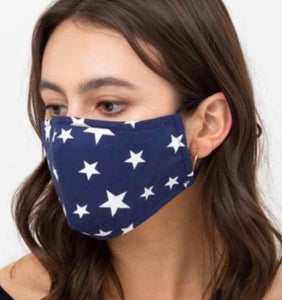 cotton masks with star printed designs with 3 layers
