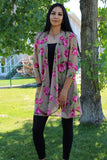 floral taupe mesh long kimono for women