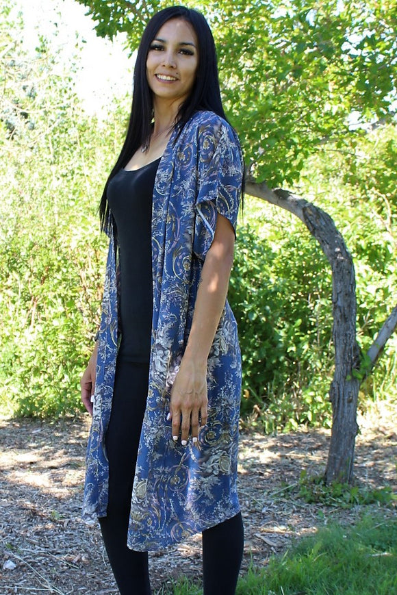 FLORAL LONG KIMONO WITH GLITTER NAVY