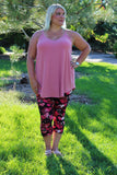 heart in pink print high waisted leggings for plus size curvy women