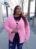 CURVY POPCORN LONG SLEEVES CARDIGAN WITH FUNCTIONAL BUTTON FRONT
