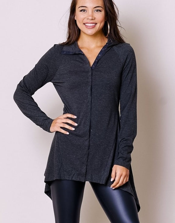 v neck button front tunic top for women
