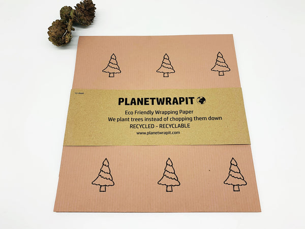 Recycled Kraft Paper Gift Wrapping (Festive Trees/Snowman)