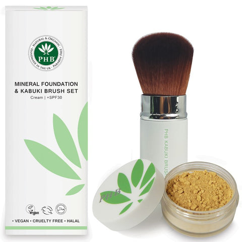 PHB Loose Mineral Foundation (+SPF30) & Kabuki Brush Kit - 10 shades