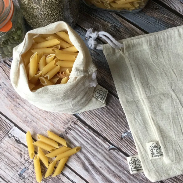 Naturally Evergreen Organic Cotton Produce Bags x3