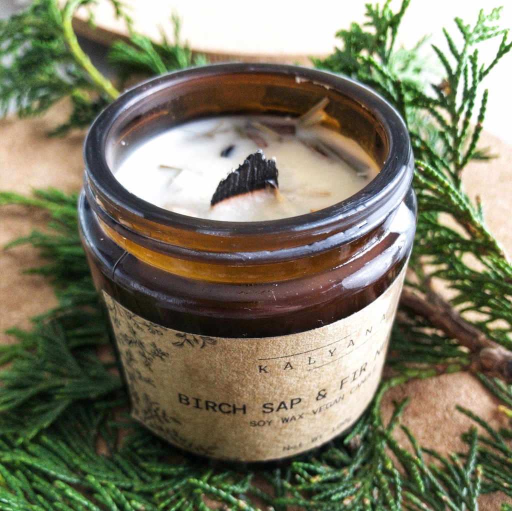 Eco soy wax fir needle & birch sap candle