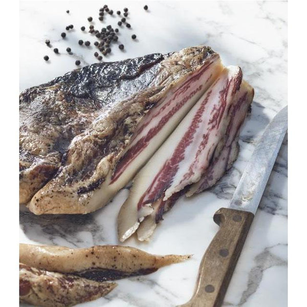 Guanciale, the cheek of the pig, that has been cured, fermented and air-dried.