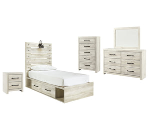 Cambeck Signature Design 7-Piece Youth Bedroom Set with 2 Storage Drawers and Nightstand