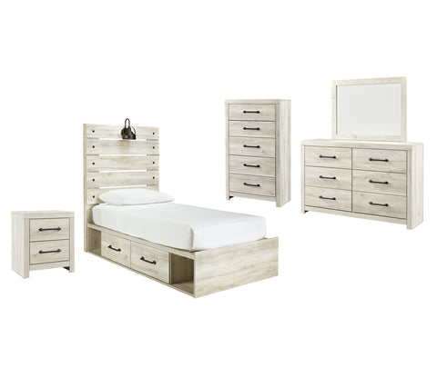 Cambeck Signature Design 7-Piece Youth Bedroom Set with 4 Storage Drawers and Nightstand