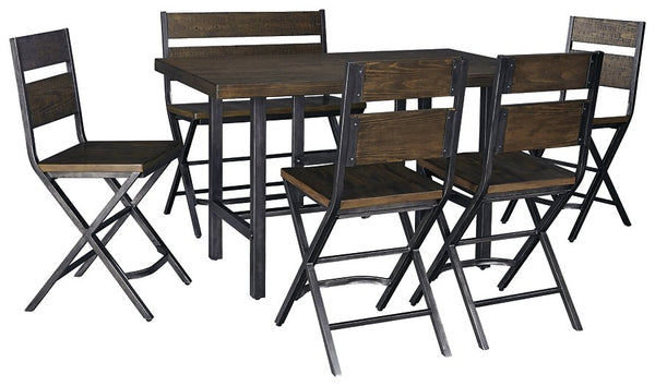 Kavara Signature Design Counter Height Table 6-Piece Dining Room Package