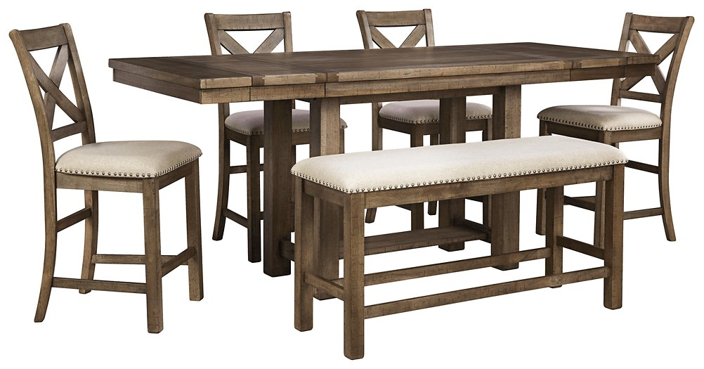 Moriville Signature Design Counter Height Table 6-Piece Dining Room Package