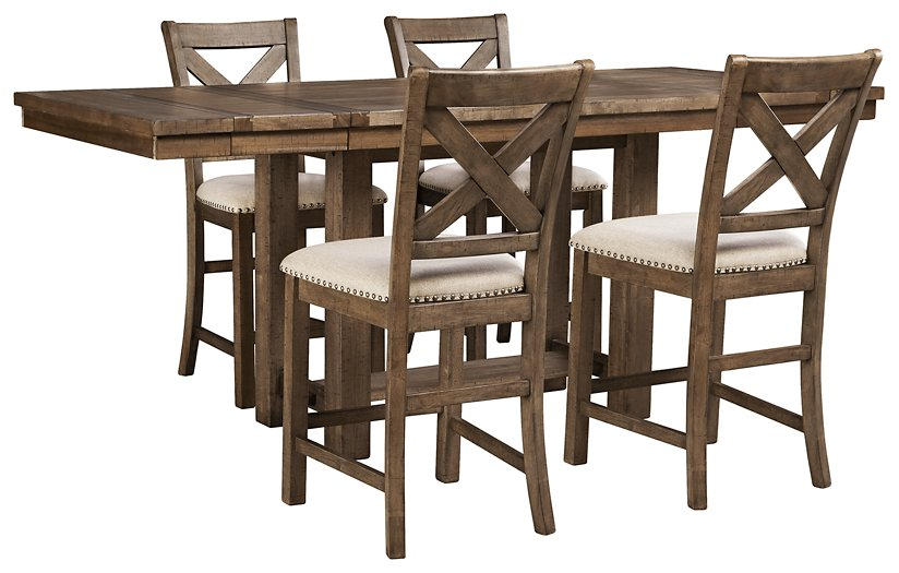 Moriville Signature Design Counter Height Table 5-Piece Dining Room Package