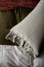 Load image into Gallery viewer, Natural Ruffle Pillowcase Set