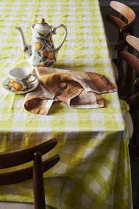 Limoncello Gingham Linen Tablecloth