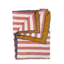 Load image into Gallery viewer, Cherry Stripe/ Turmeric Double Sided Quilt