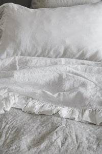 White Ruffle Flat Sheet