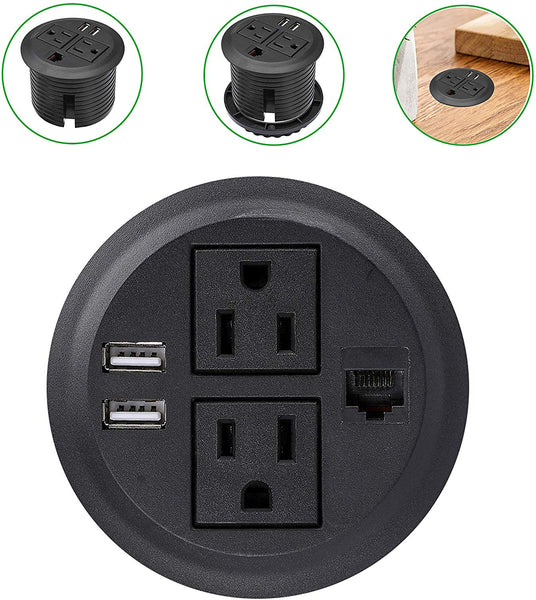 Desktop Hidden Power Grommet with 2 Power Socket & 2 USB Charging Ports and Netw